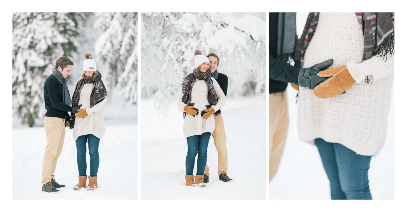 Triptyque photo en couple d'une grossesse à Morzine en hiver dans la neige