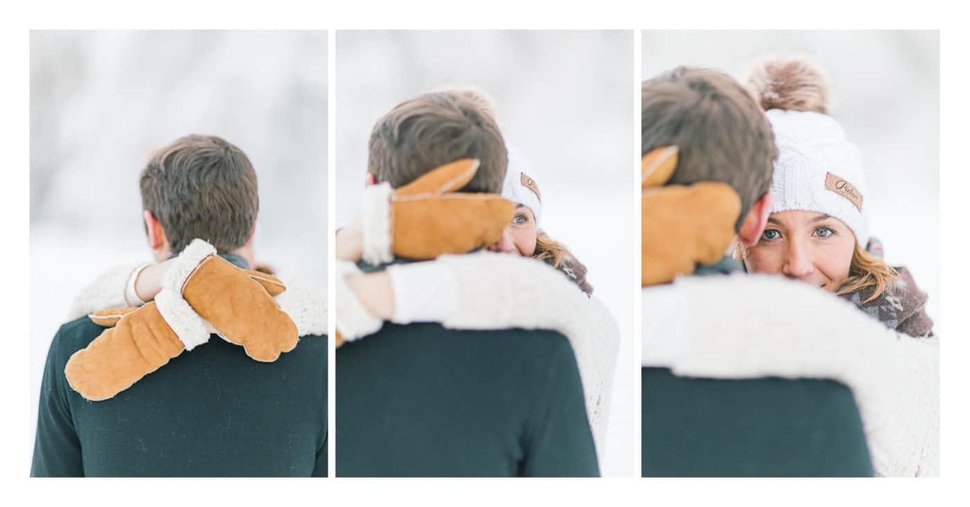 Triptyque photo en couple enlacé à Morzine en hiver dans la neige