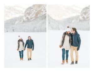 photo en couple d'une grossesse à Morzine en hiver dans la neige