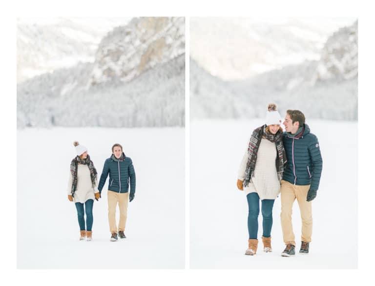 Photographe portrait et coupleà Chamonix et Megève près du Mont Blanc en Haute Savoie (74). Photos de portrait d'un couple au bord du lac de Montriond à Morzine en hiver dans la neige et à la montagne