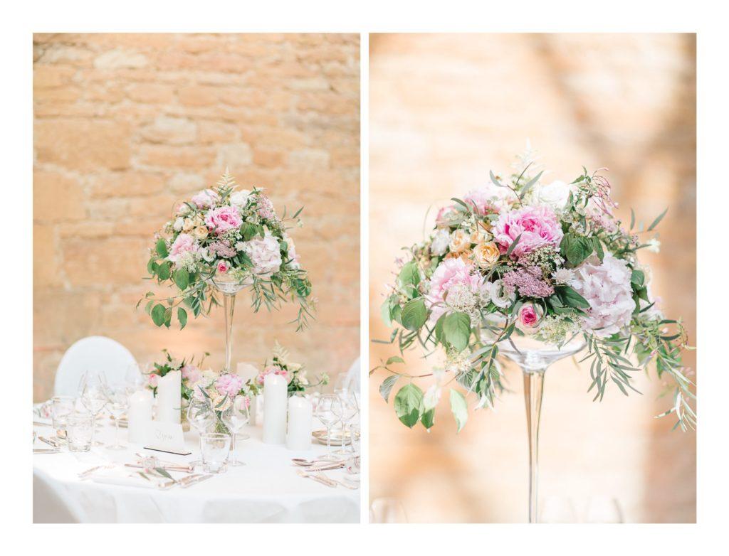 Photo de décorations à un mariage au château de Bagnols dans la beaujolais près de Lyon
