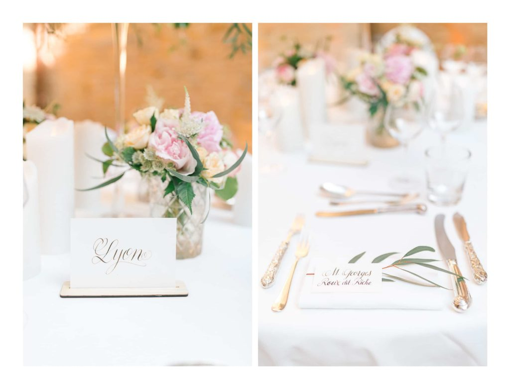 Photo de fleurs à un mariage au château de Bagnols dans la beaujolais près de Lyon