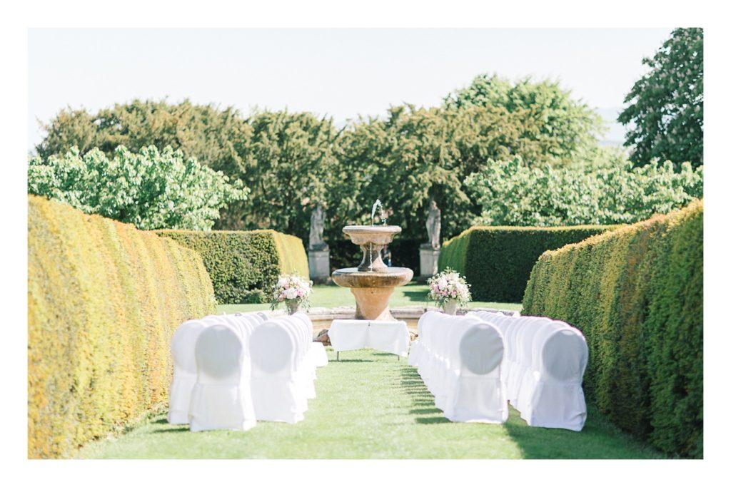 Photo de la ceremonie à un mariage au château de Bagnols dans la beaujolais près de Lyon
