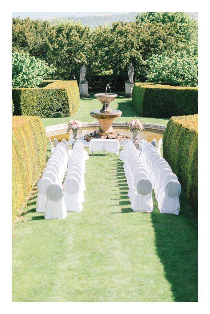 Photo du lieu de cérémonie à un mariage au château de Bagnols dans la beaujolais près de Lyon