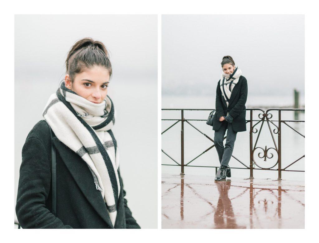 Photo de l'actrice Éléonore Sarrazin à Annecy à l'occasion d'un shooting sous la neige