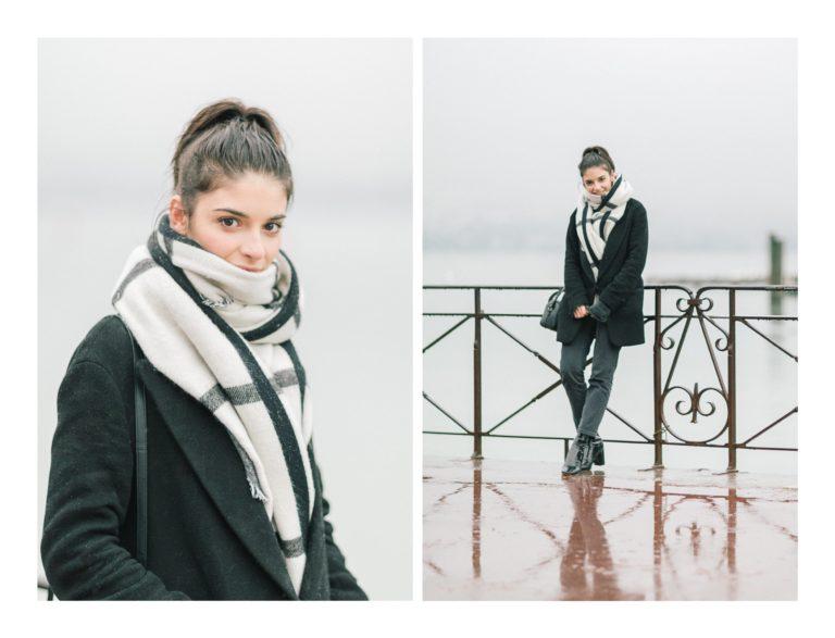 Photo de portrait de Éléonore Sarrazin alors qu'il neige pendant le shooting photo à Annecy