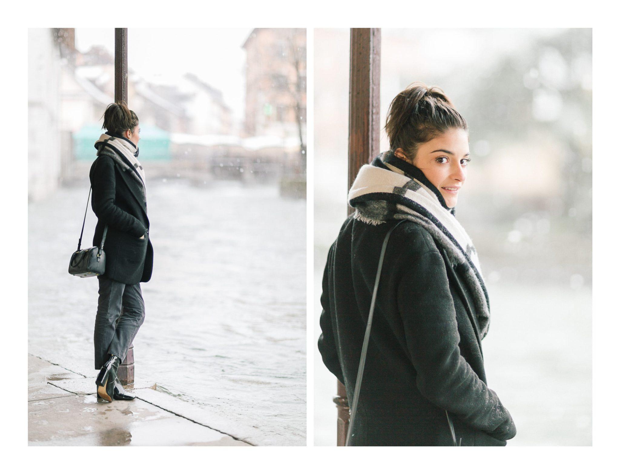 Photo de l'actrice Éléonore Sarrazin à l'occasion d'un shooting photo à Annecy sous la neige. Nous nous sommes d'abord rendu sur les bords du Thiou.