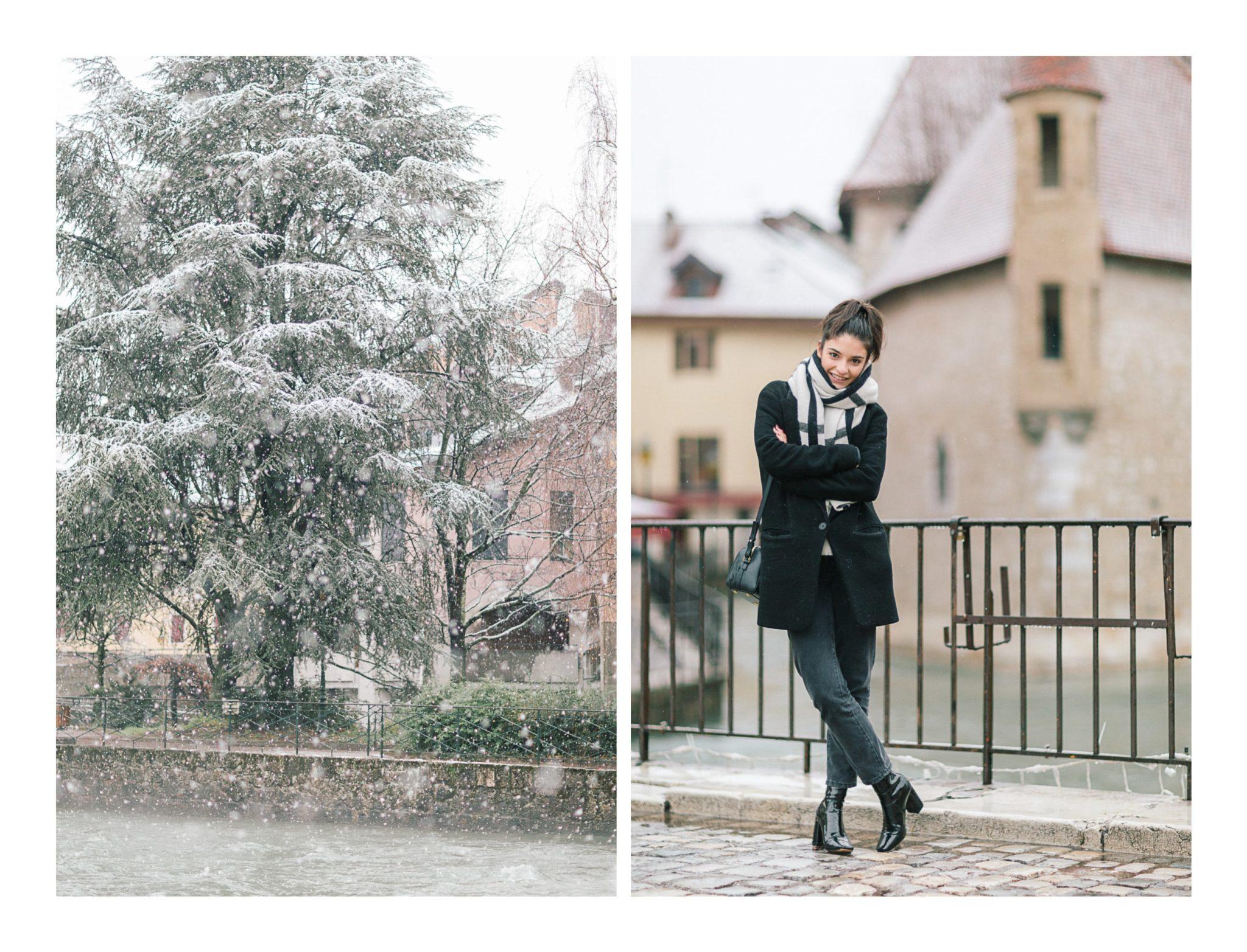 Ensuite, photo de l'actrice Éléonore Sarrazin à l'occasion d'une séance portrait à Annecy sous la neige