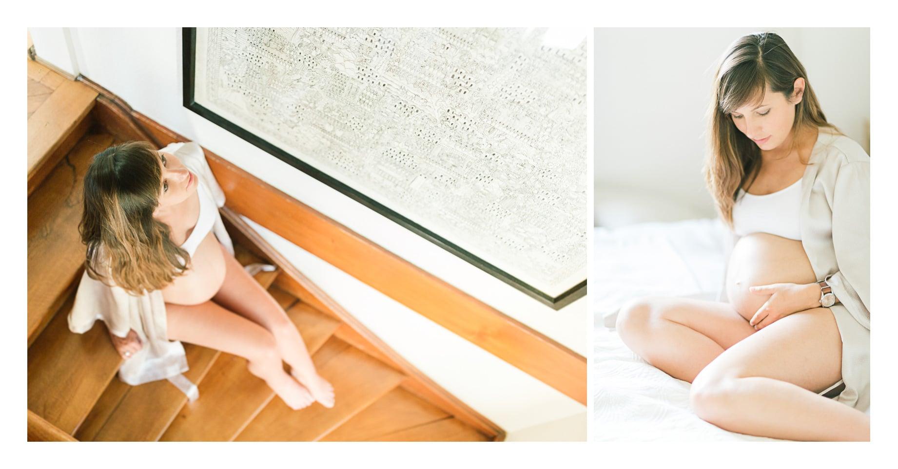 Photos d'une séance grossesse à Aix les Bains vers Annecy et Genève la future maman est assise dans l'escalier