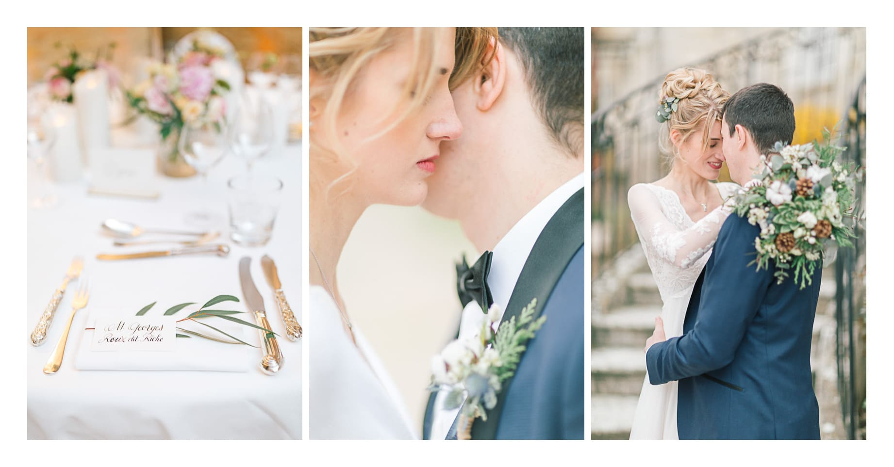 photo d'un mariage à Annecy puis entre Genève et Lausanne, photos de la décoration de table, de la mariée pendant les préparatifs et dans les bras de son mari