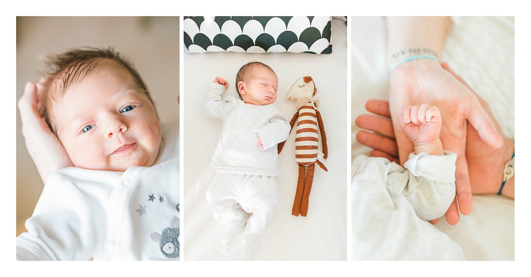 photo d'une séance naissance à Annecy Genève, on voit la main du bébé et de ses parents, le bébé dans son lit et une autre photos du bébé dans les bras de sa maman