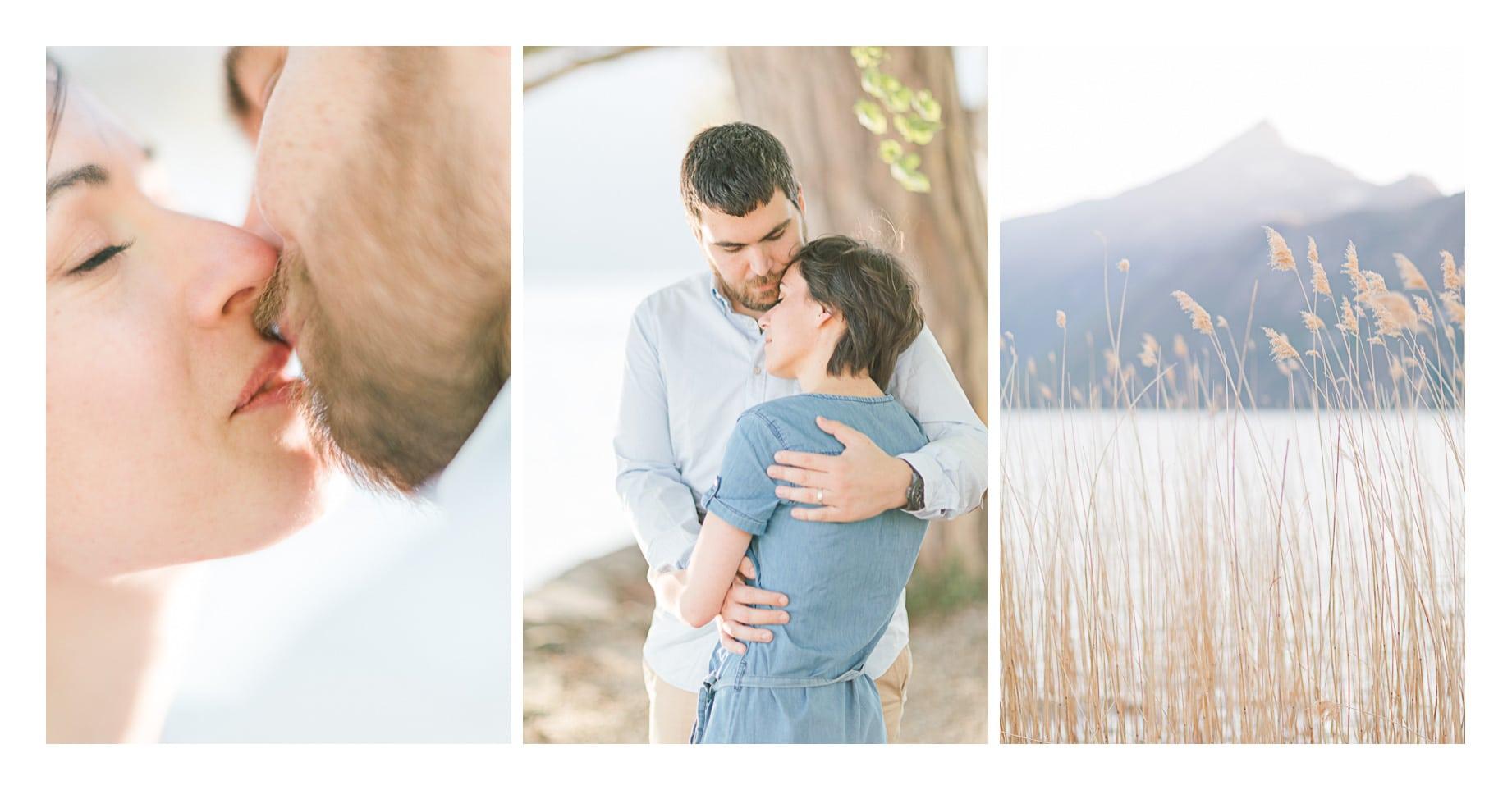 Séance photos de portrait de couple à Annecy près de Genève, il y a 3 photos une photos avec un baiser, un ou le couple s'enlace, une autre du lac
