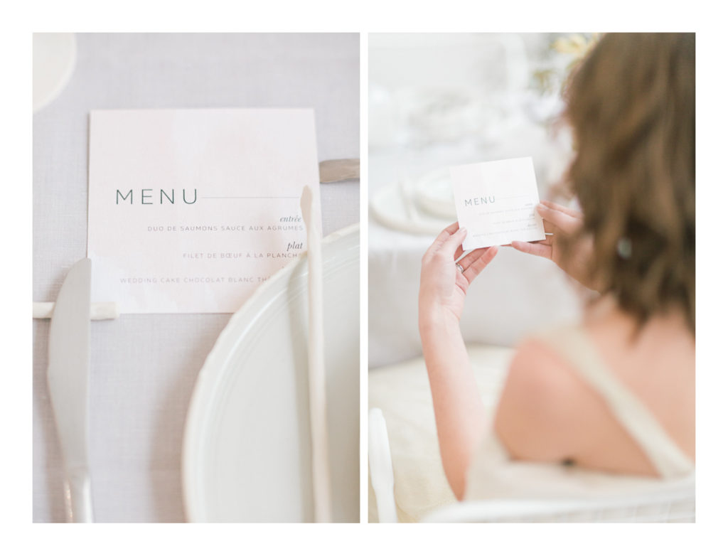Photo du menu du mariage.