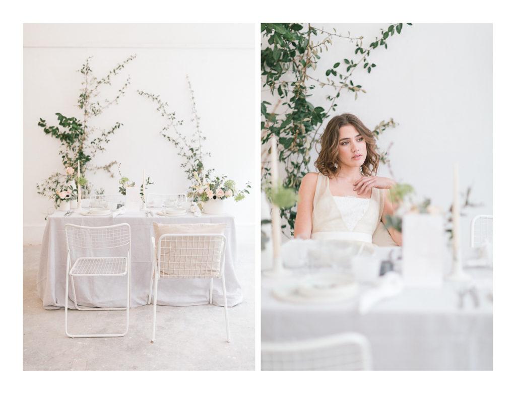 Photo de la table du mariage avec la mariée Ilona Gachet assise.