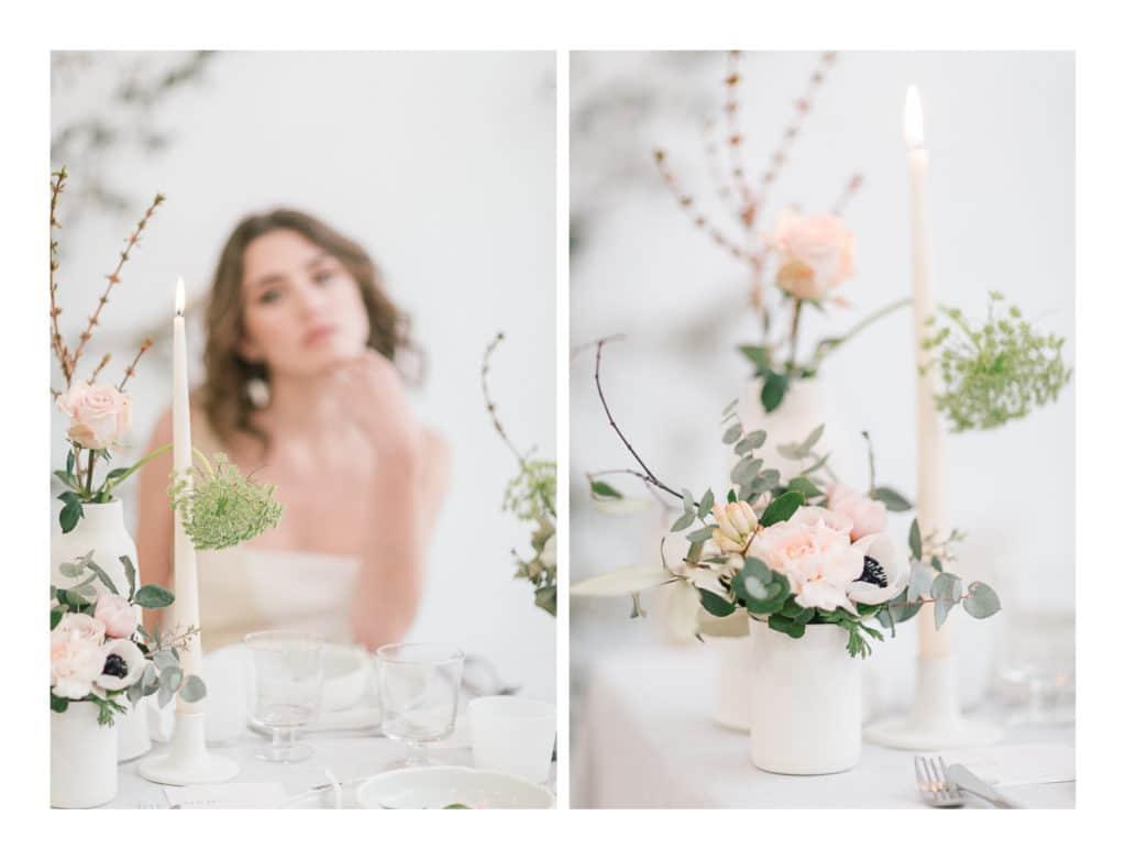 Photo de la table et des fleurs du mariage avec Ilona Gachet