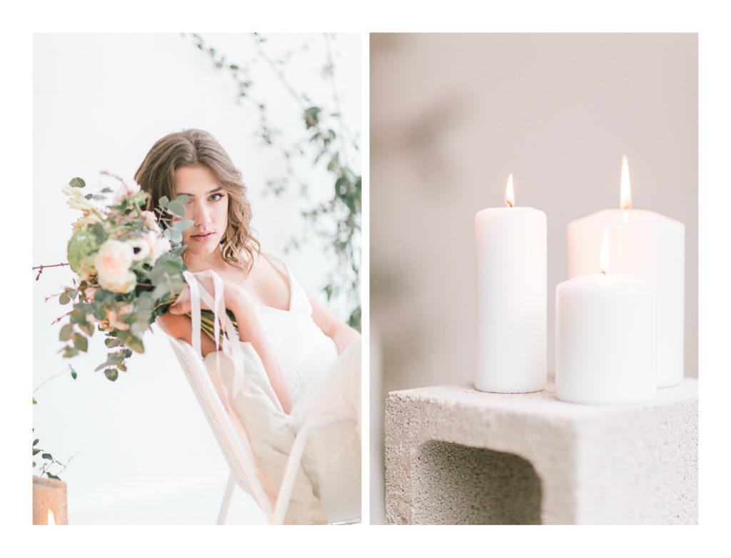 Ilona Gachet, photo de la mariée qui tient son bouquet et de bougies