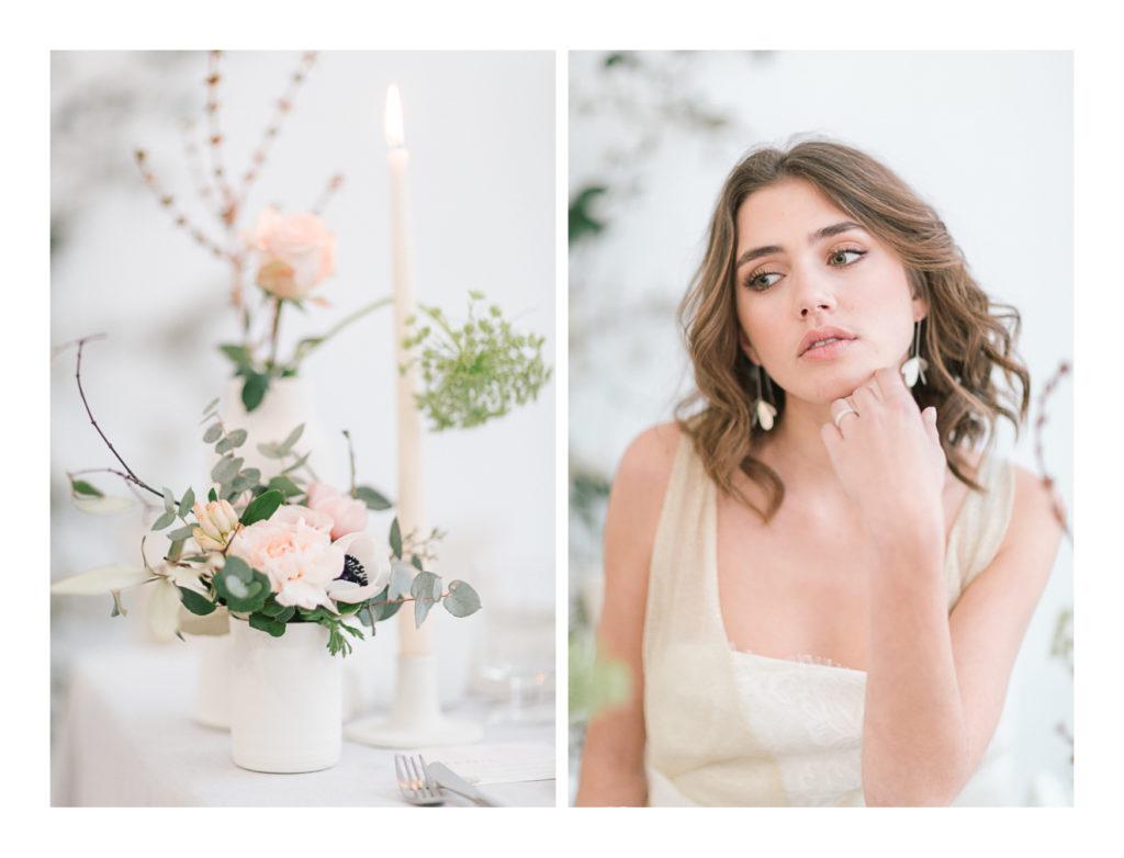 Photo de la mariée Ilona Gachet et des fleurs sur la table