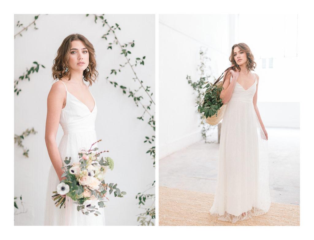 Ilona Gachet en tant que mariée avec son bouquet de fleurs